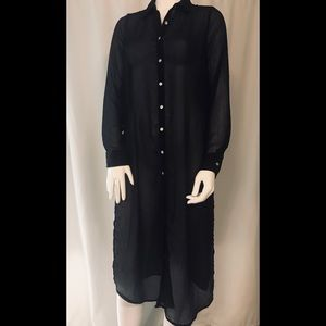 NEW LOOK sheer side slit button down tunic